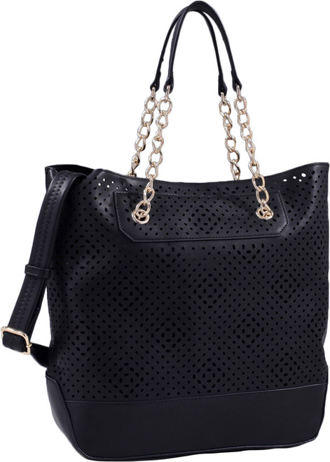 Black Front Diamond Perforated Soft Faux Leather Fashion Handbag Shop Tote Purse