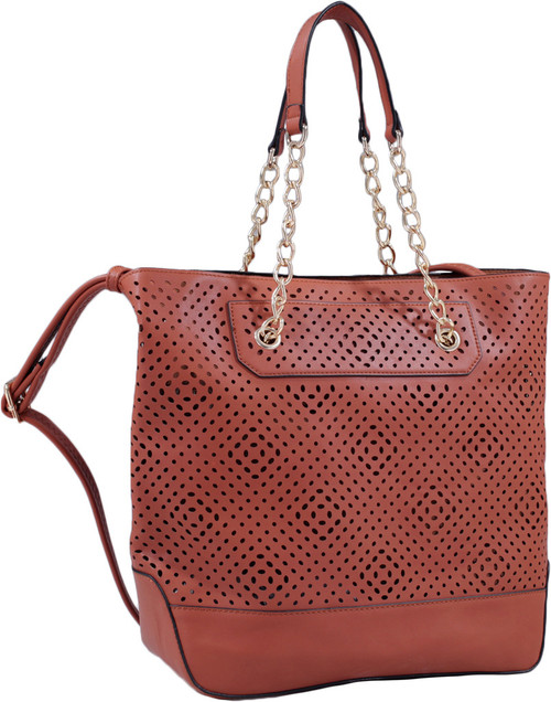 Brown Front Diamond Perforated Soft Faux Leather Fashion Handbag Shop Tote Purse