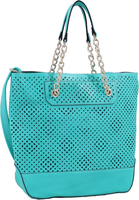 Teal Front Diamond Perforated Soft Faux Leather Fashion Handbag Shop Tote Purse