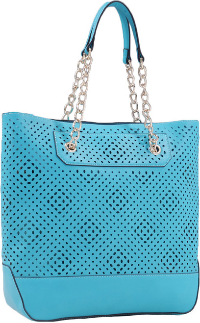 Turquoise Front Diamond Perforated Soft Faux Leather Fashion Handbag Shop Tote Purse