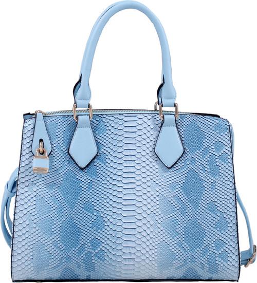 Blue Vegan Leather Snakeskin Tote Fashion Handbag Shoulder bag Purse