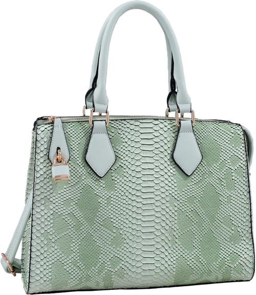 Light Green Vegan Leather Snakeskin Tote Fashion Handbag Shoulder bag Purse