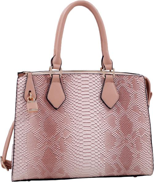 Pink Vegan Leather Snakeskin Tote Fashion Handbag Shoulder bag Purse