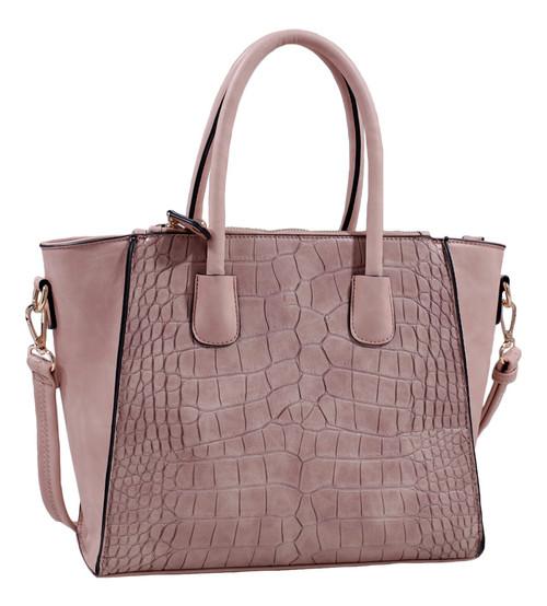 Isabelle Taupe Alligator Handbag Tote Purse with Adjustable Shoulder Strap