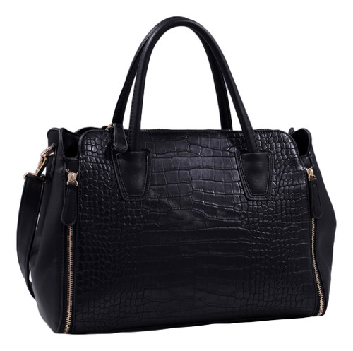 Black Alligator Print Soft Faux Leather Designer Tote Shop Handbag Shoulder Bag Purse