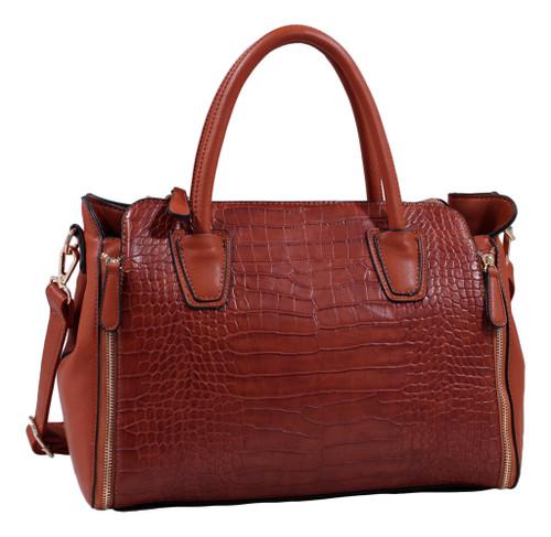 Brown Alligator Print Soft Faux Leather Designer Tote Shop Handbag Shoulder Bag Purse