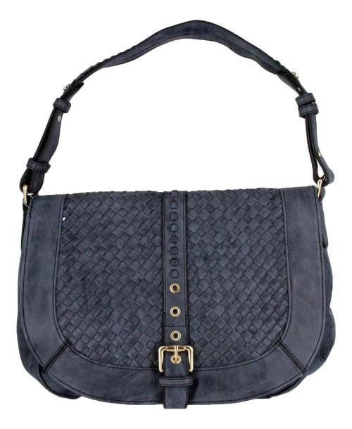 Blue Basketweave Celebrity Fashion Designer Hobo Handbag Shoulder Bag Purse