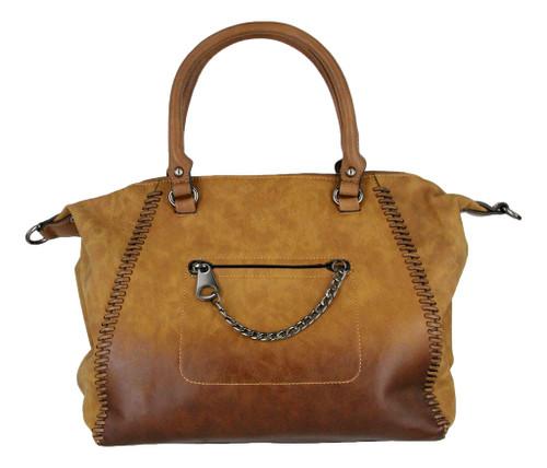 Soft Tan Oil Tanned Brown Contrast Faux Leather  Fashion Designer Shop Tote Handbag Purse