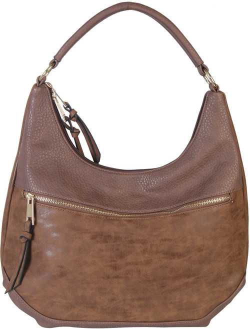 Coffee Contrast Fade Wash Soft Faux Leather Shoulder Fashion Handbag hobo Purse