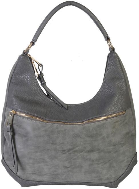 Gray Contrast Fade Wash Soft Faux Leather Shoulder Fashion Handbag hobo Purse
