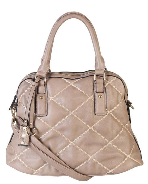 Khaki Quilt Pattern Soft Faux Leather Shop Tote Shoulder Bag Handbag Purse
