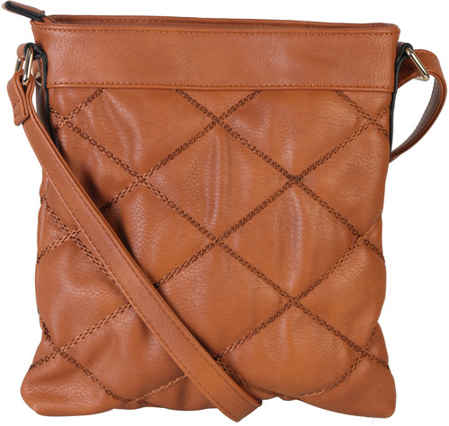 Brown Quilt Pattern Soft Faux Leather Crossbody Messenger Shoulder Bag Handbag Purse