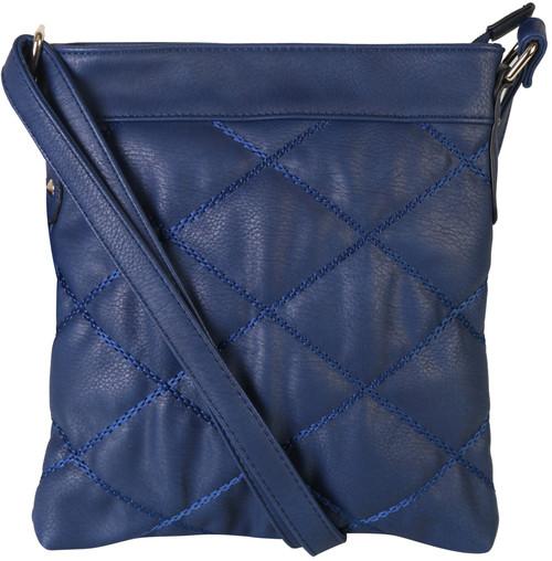 Navy Quilt Pattern Soft Faux Leather Crossbody Messenger Shoulder Bag Handbag Purse