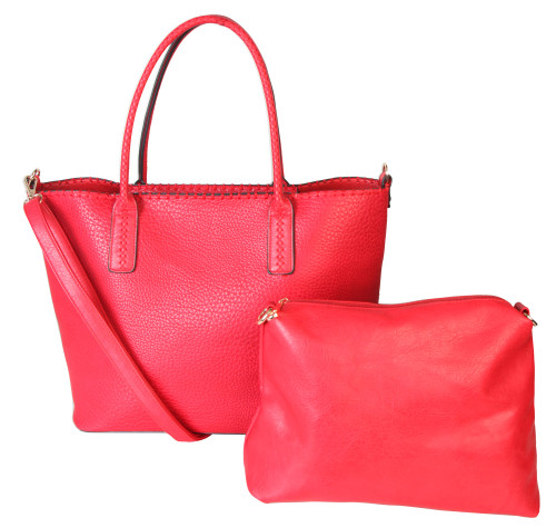 Matha 2 for 1 HandBag Set Soft Faux Leather Red Tote with Matching Leather Cosmetic Bag