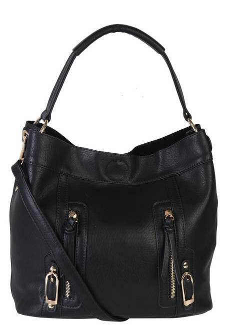 Sadies 2 for 1 HandBag Set Faux Leather BLack Tote With Matching Leather Mini Purse