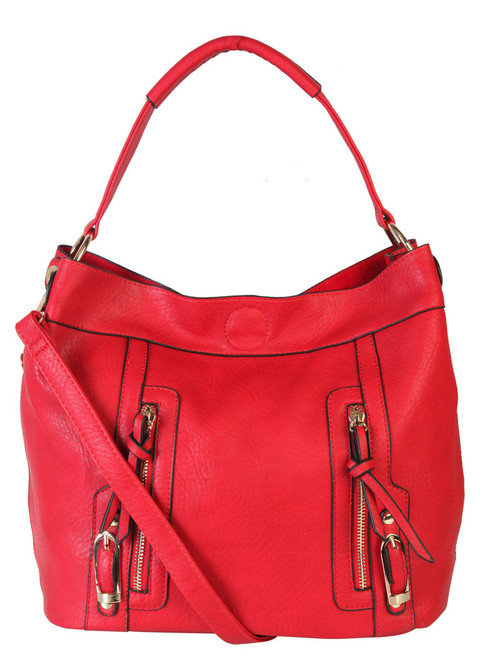 Sadies 2 for 1 HandBag Set Faux Leather Red Tote With Matching Leather Mini Purse