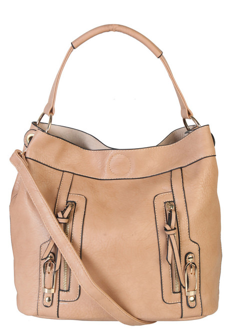 Sadies 2 for 1 HandBag Set Faux Leather Taupe Tote With Matching Leather Mini Purse