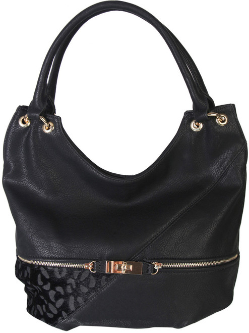 Black Faux Leather Patch of Leopard Print Shoulder Bag  Hobo Purse Handbag