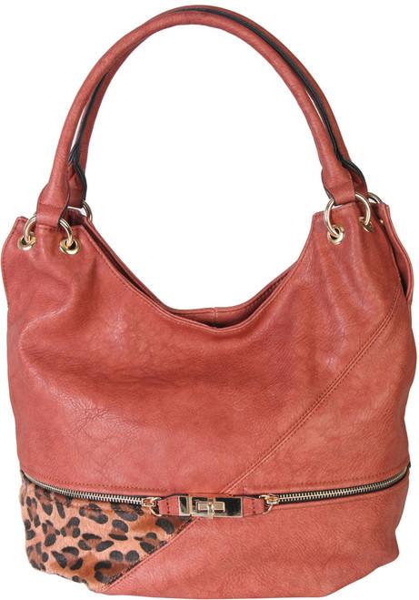 Dark Pink Faux Leather Patch of Leopard Print Shoulder Bag  Hobo Purse Handbag