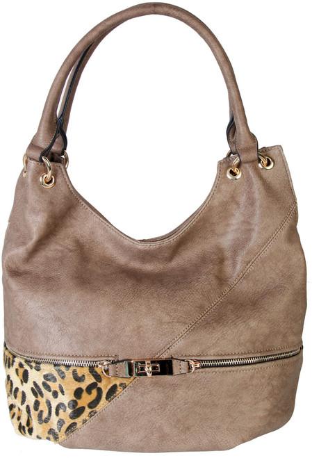 Khaki Faux Leather Patch of Leopard Print Shoulder Bag  Hobo Purse Handbag