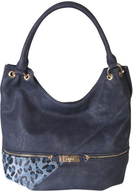 Navy Faux Leather Patch of Leopard Print Shoulder Bag  Hobo Purse Handbag