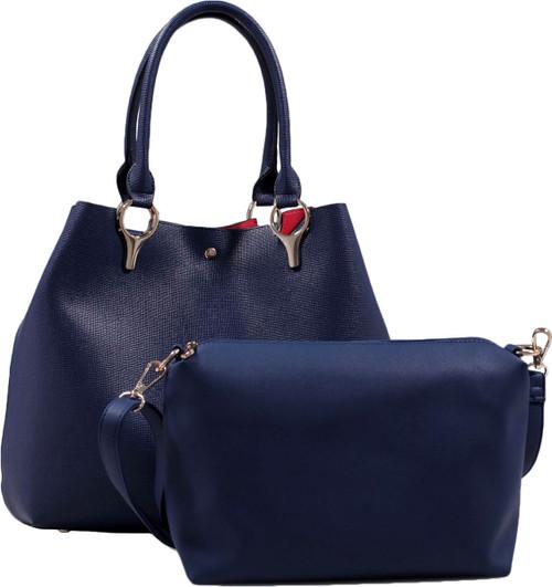 2 for 1 Handbag Set Navy Faux Leather Designer Shopping Tote and Cosmetic/Mini-Handbag Purse Shoulder bag