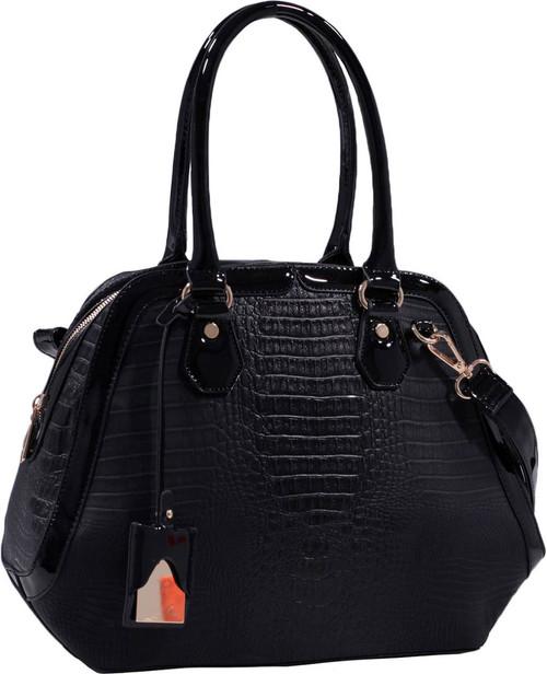 Black Alligator Vegan Leather Shoulder Bag Purse Handbag