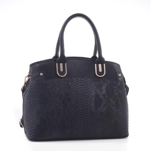 Braylee Python Pattern Embossed Faux Leather Satchel Shoulder Hand Bag