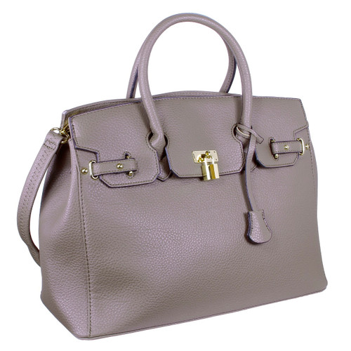 Yessica Designer Inspired Faux Leather Satchel Padlock Style Shoulder Handbag