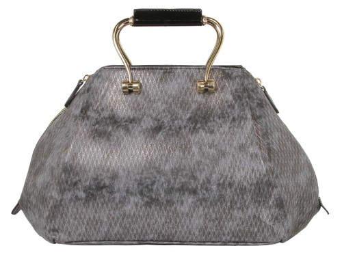 Alyssa Croco-Embossed Dome Faux Leather Large Shoulder Bag
