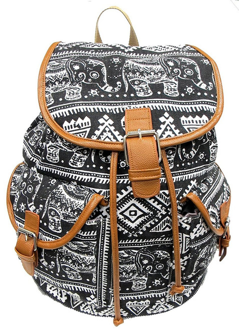 "16"" Large Women's Canvas Backpack Padded Strap Drawstring Closure Leather Trim for Travel, Outdoor -  Elephant"