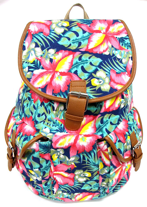 """16"""" Large Women's Canvas Backpack Padded Strap Drawstring Closure Leather Trim for Travel, Outdoor - Tropical Flower"""