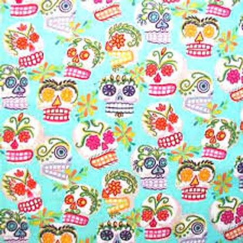 """This fabric has miniature versions of the Calaveras. Each image is 1-2"""" in size."""
