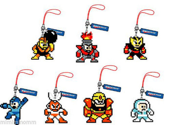 Set of 7 Rockman Megaman Dot Rubber Mobile Strap Collection Vol.2 JAPAN GAME NES