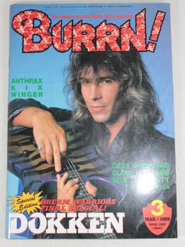 1989/03 BURRN! Japan Rock Magazine DOKKEN/BON JOVI/OZZY OSBOURNE/ANTHRAX/KIX