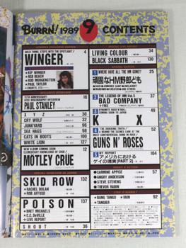 1989/09 BURRN! Japan Rock Magazine WINGER/KISS/MOTLEY CLUE/GUNS N' ROSES/POISON