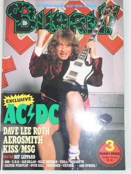 1988/03 BURRN! Japan Rock Magazine AC/DC/KISS/AEROSMITH/DEF LEPPARD/MEGADETH