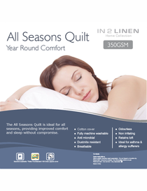 In 2 Linen All Seasons King Bed Quilt | 350GSM