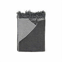 In 2 Linen Waffle Knitted Throw Rug | Natural & Black