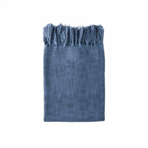 In 2 Linen Kent Knitted Throw Rug | Navy Blue