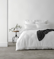In 2 Linen Vintage Washed King Bed Quilt Cover Set | White