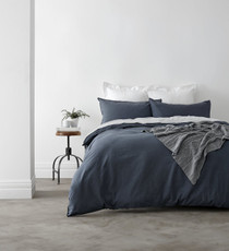 In 2 Linen Vintage Washed Super King Bed Quilt Cover Set | Navy