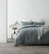 In 2 Linen Vintage Washed Queen Bed Quilt Cover Set | Green