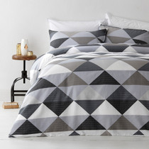 In 2 Linen Tanika Grey Double Bed Quilt Cover Set