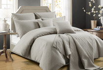 Perle Zeus Quilted King Bed Quilt Cover Set   Latte