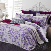 Florence Broadhurst Cranes Lilac Queen Bed Quilt Cover Set