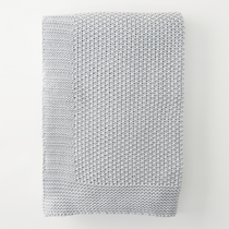 In 2 Linen Seedstitch Knitted Throw Rug | Pewter