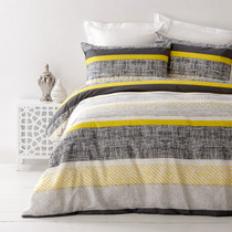 In 2 Linen Saxon Yellow Single Bed Quilt Cover Set