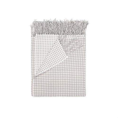 In 2 Linen Waffle Knitted Throw Rug | Natural & Linen