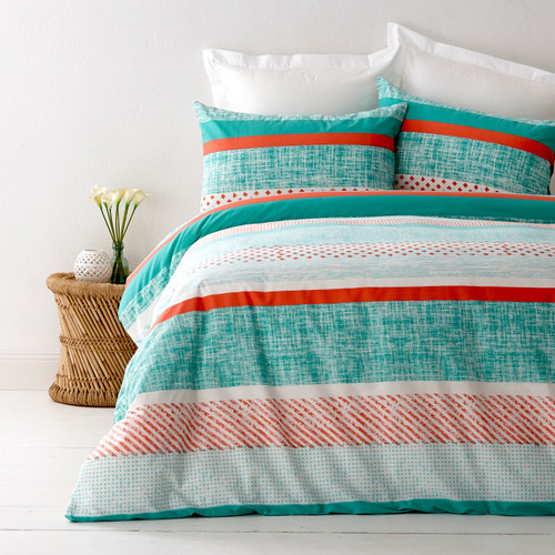 In 2 Linen Saxon Teal Single Bed Quilt Cover Set